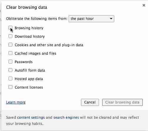 borrar el caché y cookies del historial del navegador
