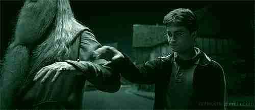 Dumbledore y Harry Potter apareciendo