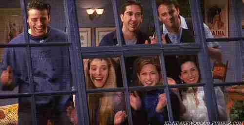 Matt LeBlanc, David Schwimmer, Matthew Perry, Lisa Kudrow, Jennifer Aniston y Courteney Cox,