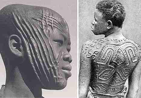 africanos con escarificaciones