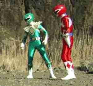 power rangers verde y rojo