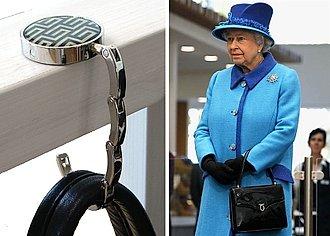 gancho portátil para cartera y Reina Isabel II
