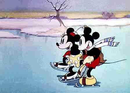 Mickey y Minnie patinando en hielo