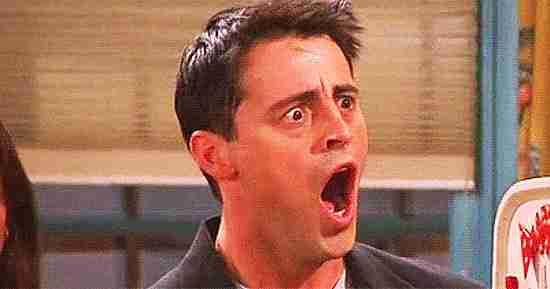 Joey Tribbiani con cara de sorprendido