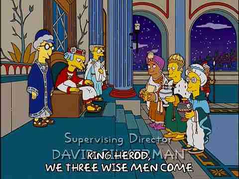 Los Reyes Magos ante Herodes en una parodia de Los Simpsons