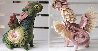 Maravillosa Colección de Dragones de Fieltro por la Artista, Alena Bobrova